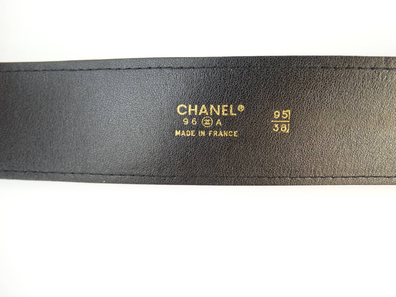 1996 Black Leather Chanel Belt with Gold Chain 6