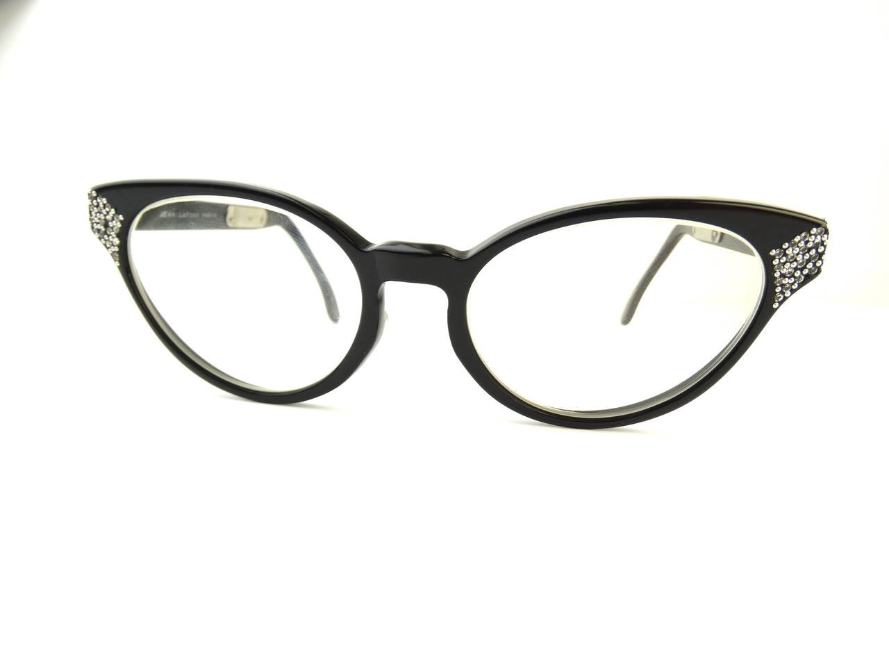 1960s Cateye Jean Lafont Black Rhinestone Eyeglasses 4