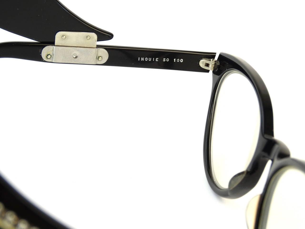 1960s Cateye Jean Lafont Black Rhinestone Eyeglasses For Sale 3