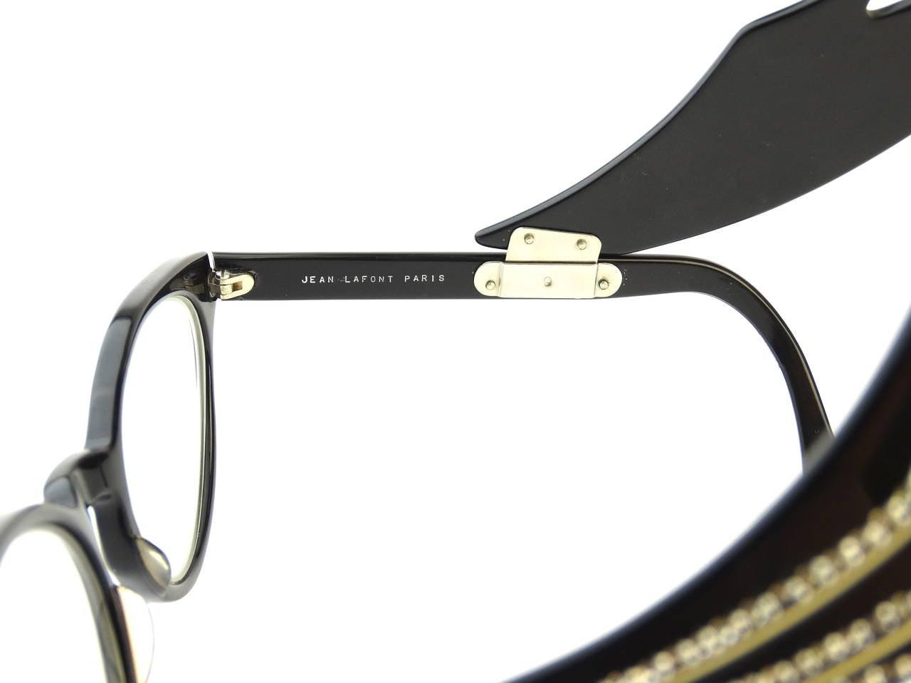 1960s Cateye Jean Lafont Black Rhinestone Eyeglasses For Sale 1