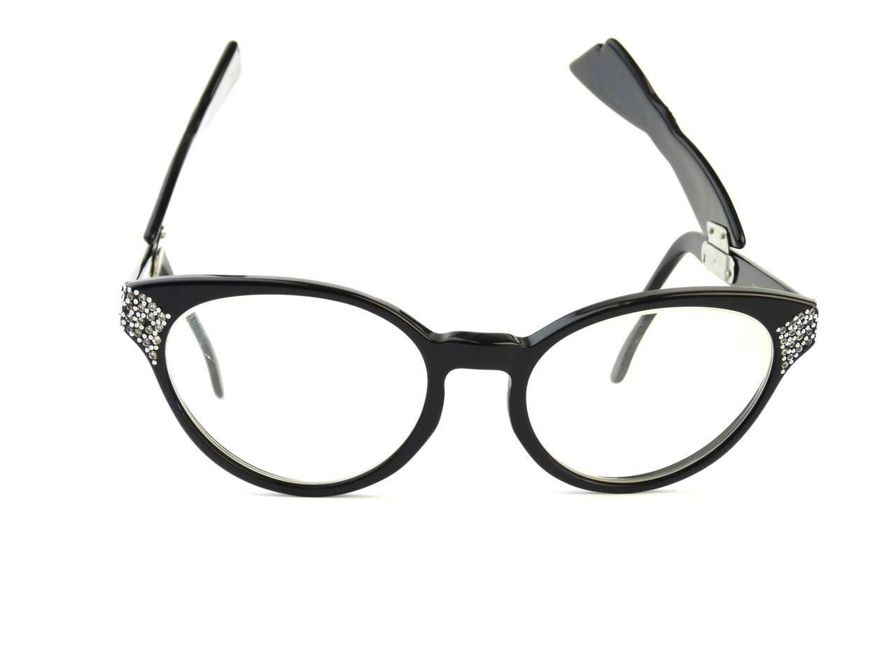 1960s Cateye Jean Lafont Black Rhinestone Eyeglasses For Sale 5