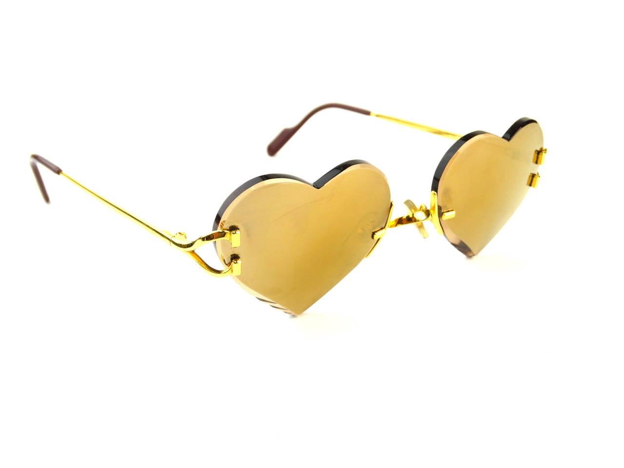 2004 Custom Cartier Amber Mirrored Heart Sunglasses At 1stdibs
