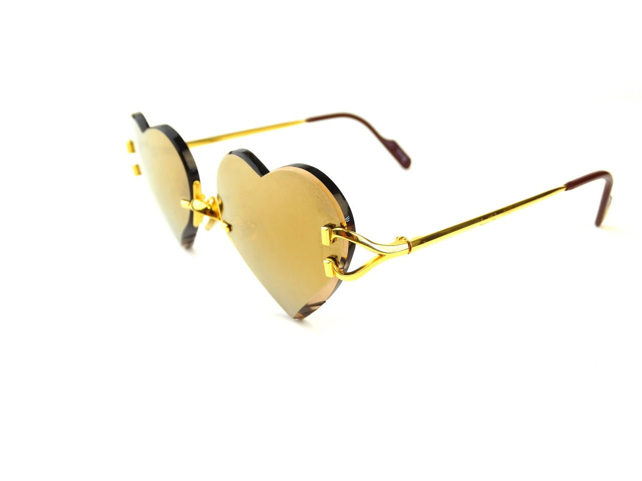 2004 Custom Cartier Amber Mirrored Heart Sunglasses 2