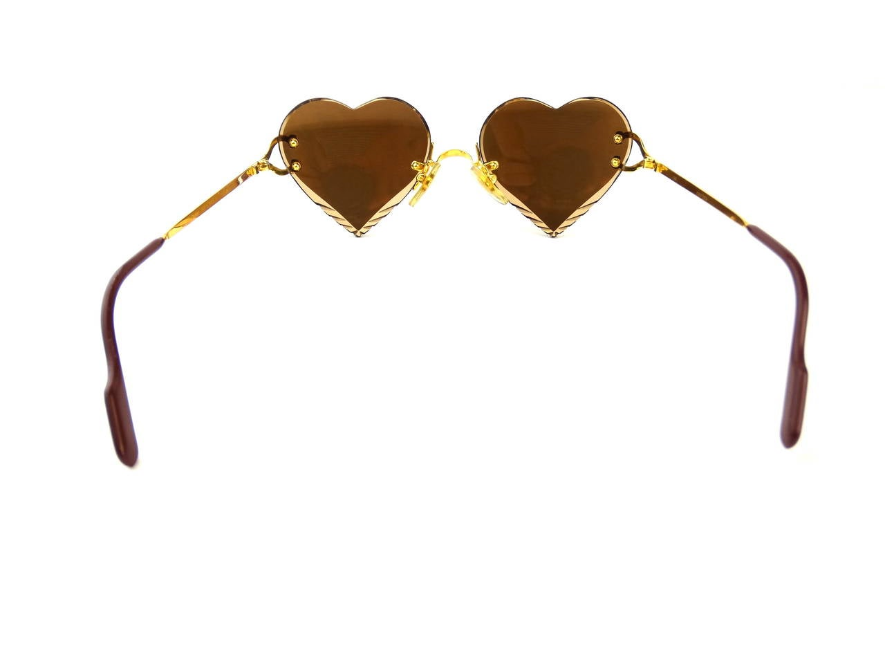 2004 Custom Cartier Amber Mirrored Heart Sunglasses 6