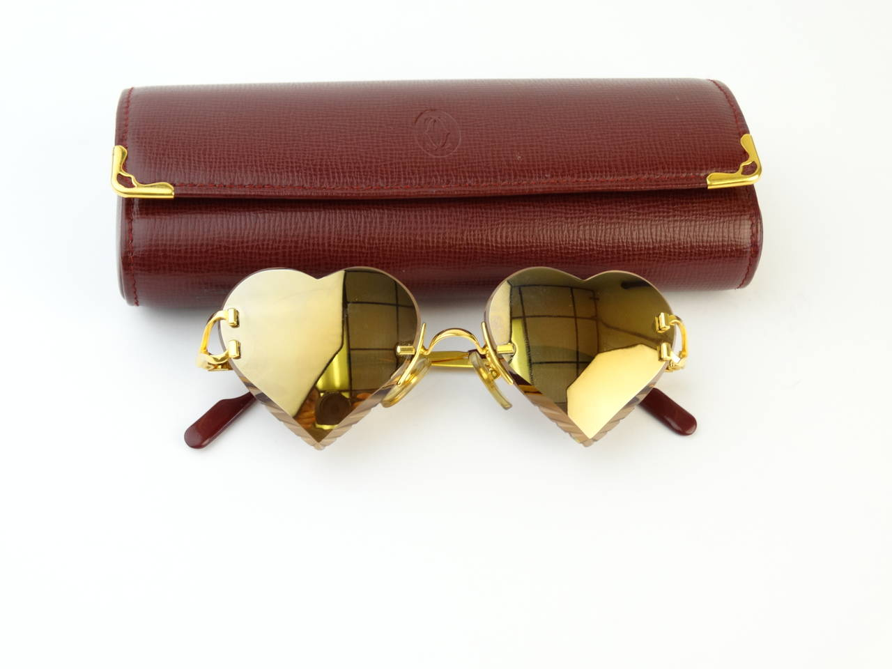 2004 Custom Cartier Amber Mirrored Heart Sunglasses 10