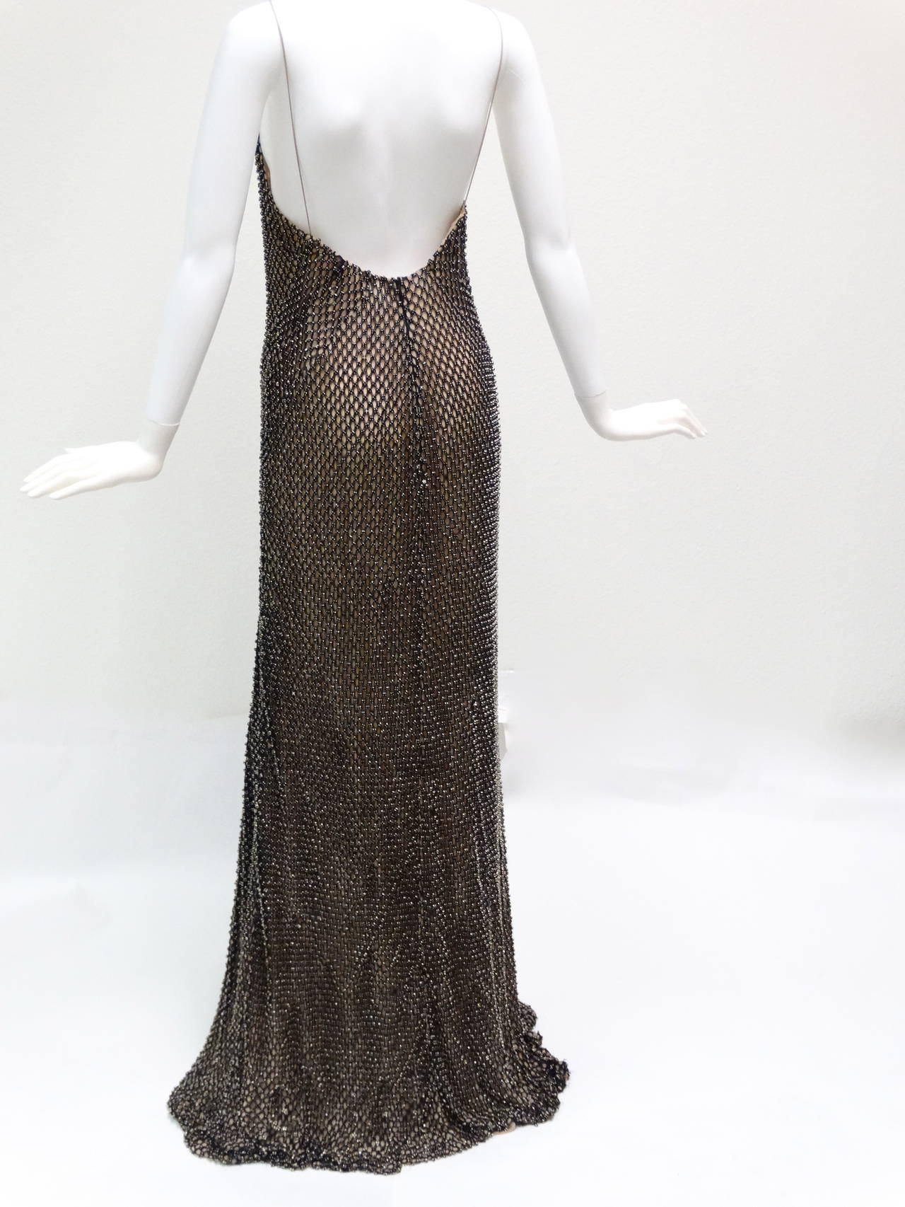 Gucci Black Rhinestone Evening Gown For Sale at 1stdibs