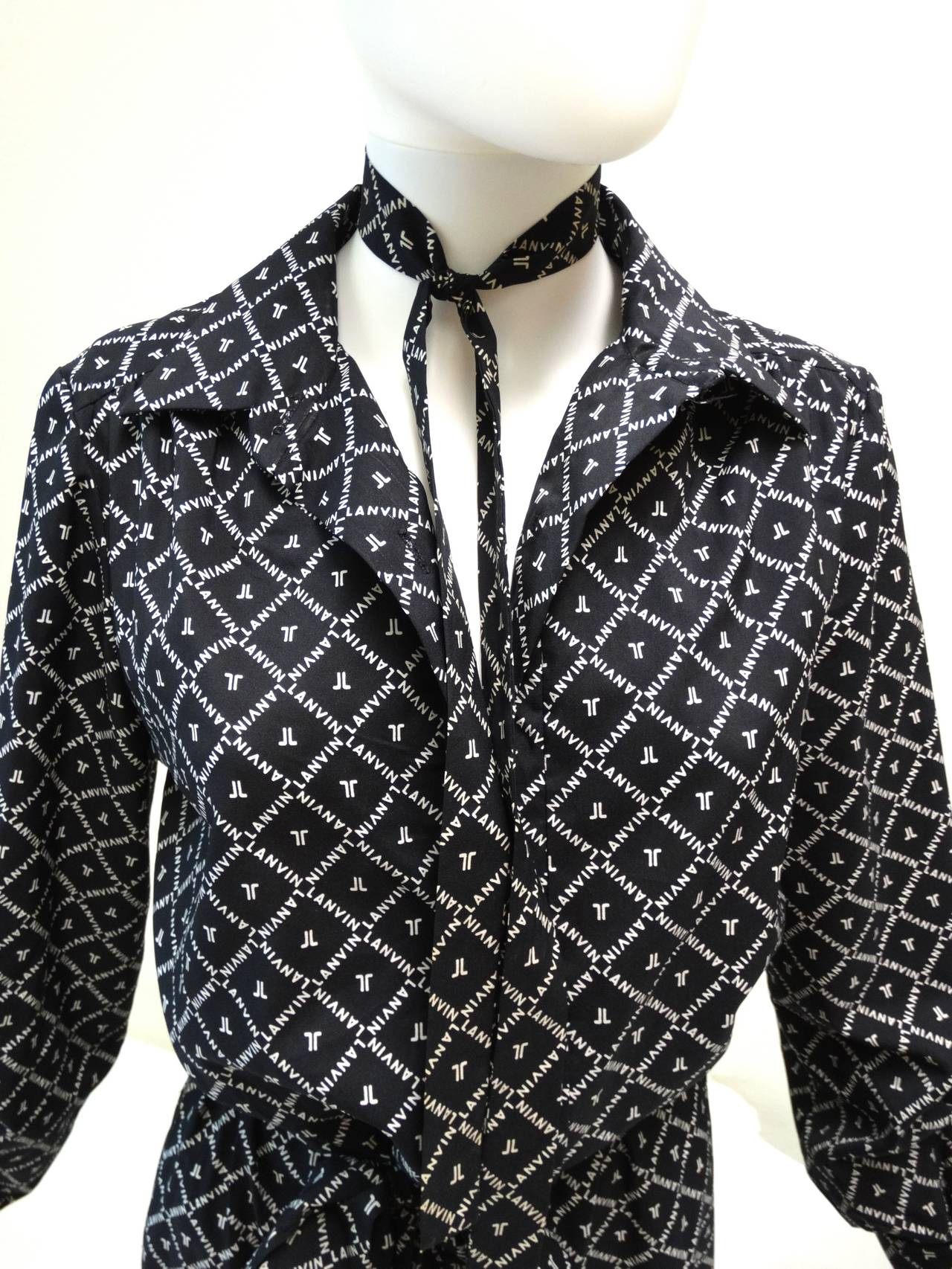 1960s Black White Lanvin Monogram Shirt Dress For Sale At