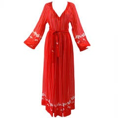Hanae Mori Red Cotton Butterfly Maxi Dress, 1970s