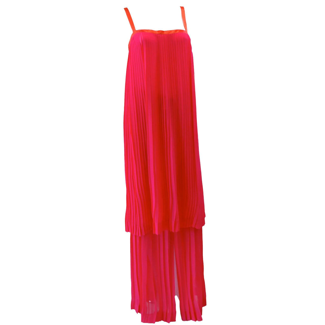 1980s Saint Laurent Electric Pink Accordian Silk Dress Skirt Set