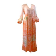 Hanae Mori Floral Silk Chiffon Dress, 1980s