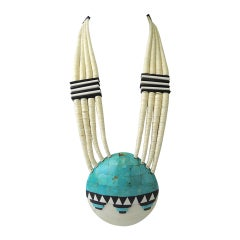 Santo Domingo Turquoise Shell Necklace, 1970s