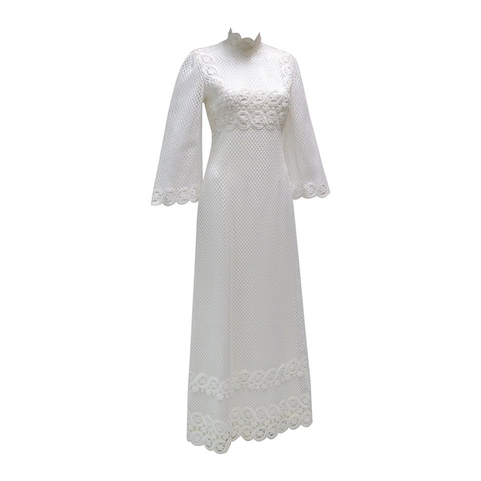 1960s Werle White Lace Maxi Dress 1