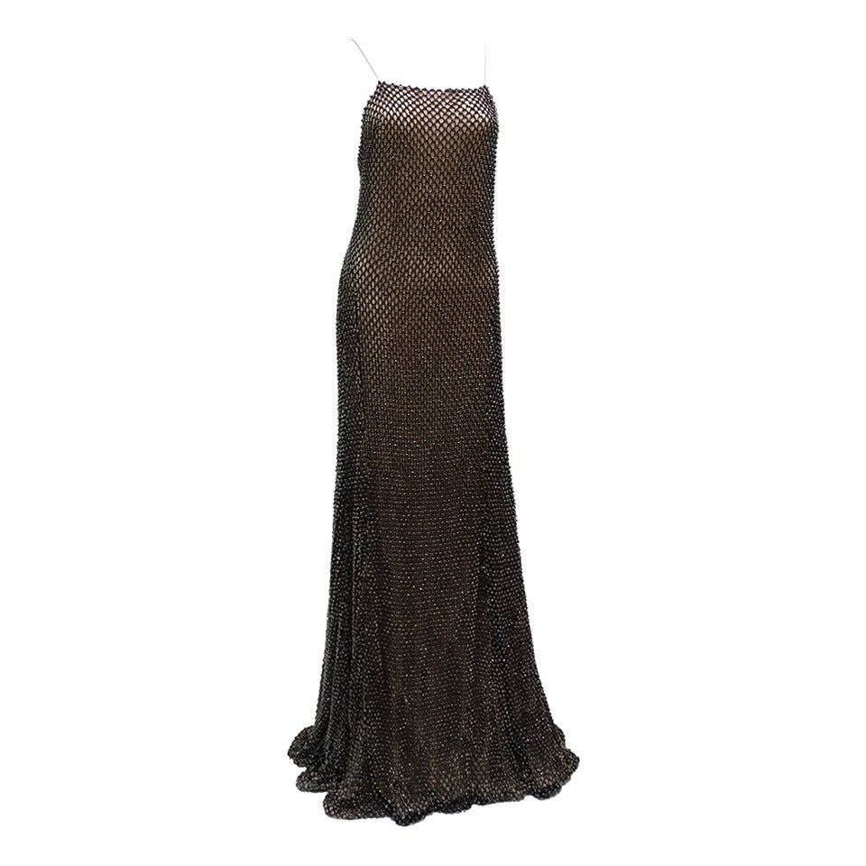 Gucci Black Rhinestone Evening Gown