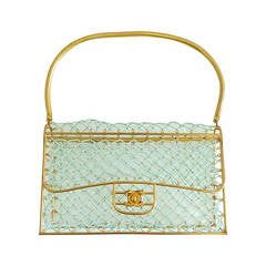 1980s Clear Chanel Quilt Pattern Shoulder Case