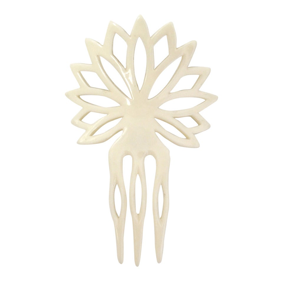 1970s Yves Saint Laurent Hand Carved Hair Comb 1