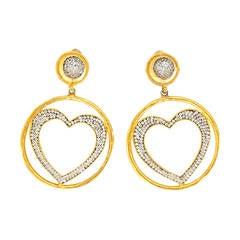 1980s Deanna Hamro Crystal, Heart Hoop Earrings
