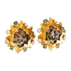 1980s Christian Lacroix Leopard Stud Earrings