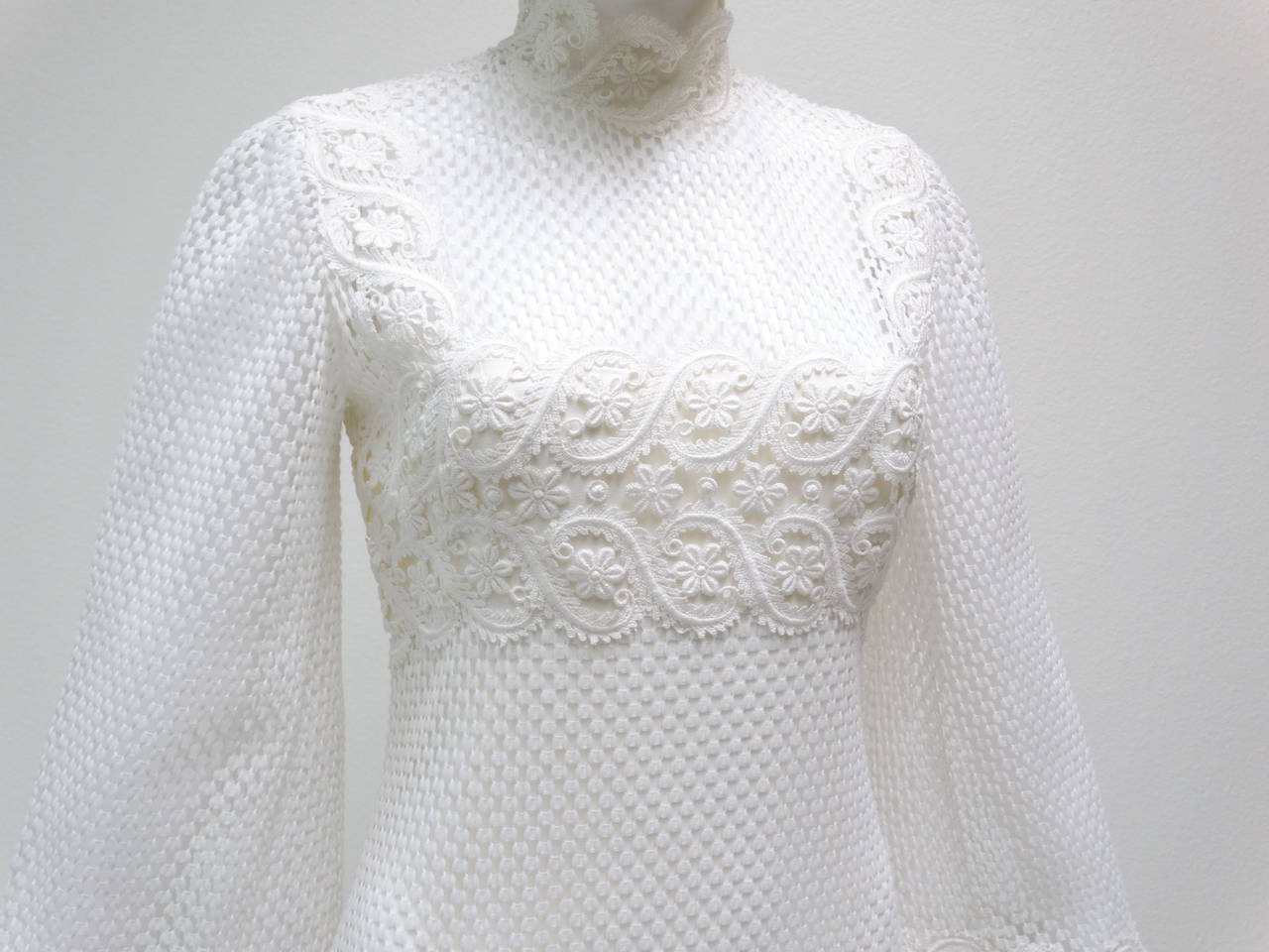 1960s Werle White Lace Maxi Dress 4