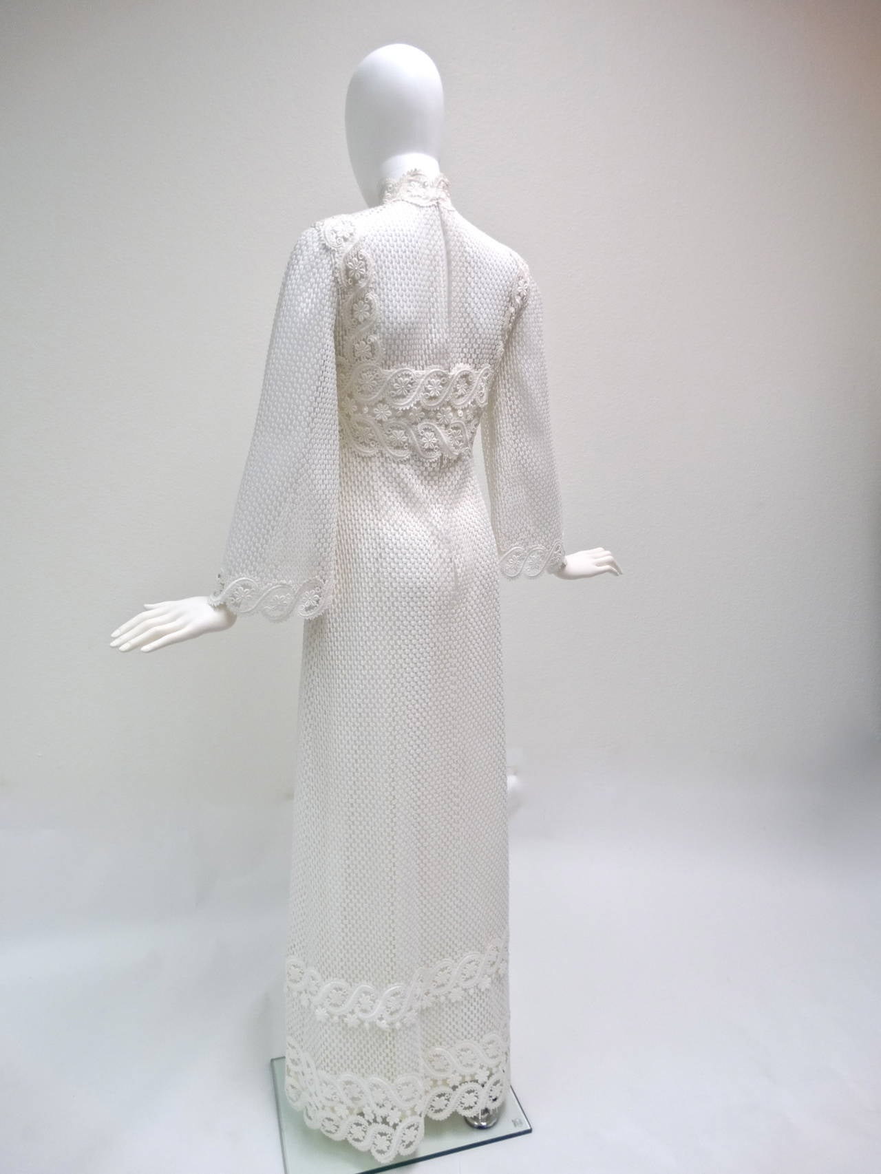 1960s Werle White Lace Maxi Dress 9