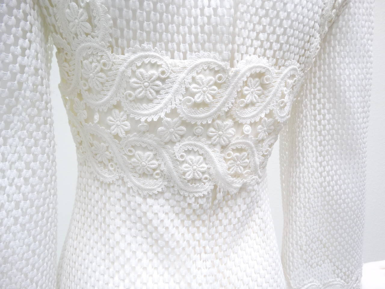 1960s Werle White Lace Maxi Dress 10