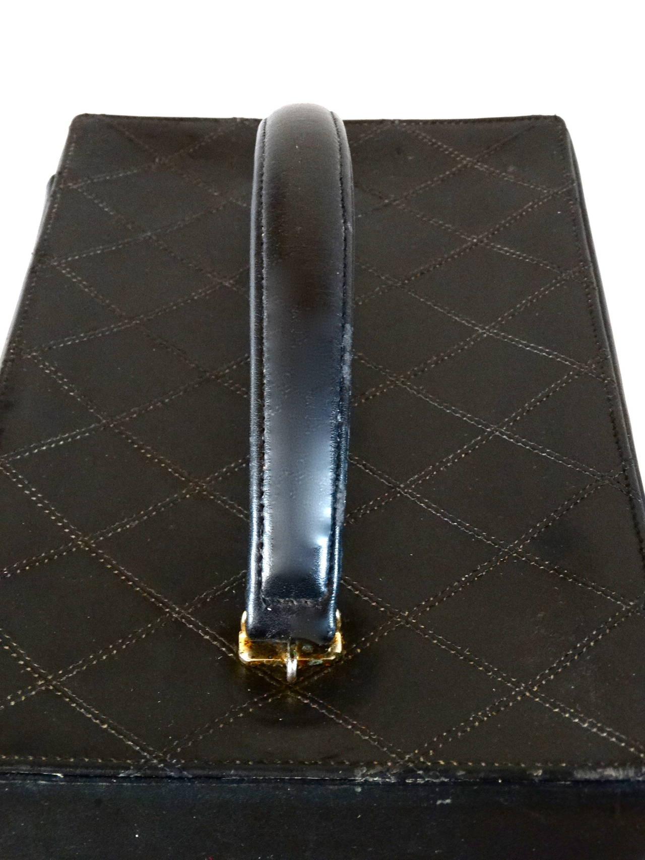 1980s Chanel Black Quilted Lambskin Vanity Cosmetic Train