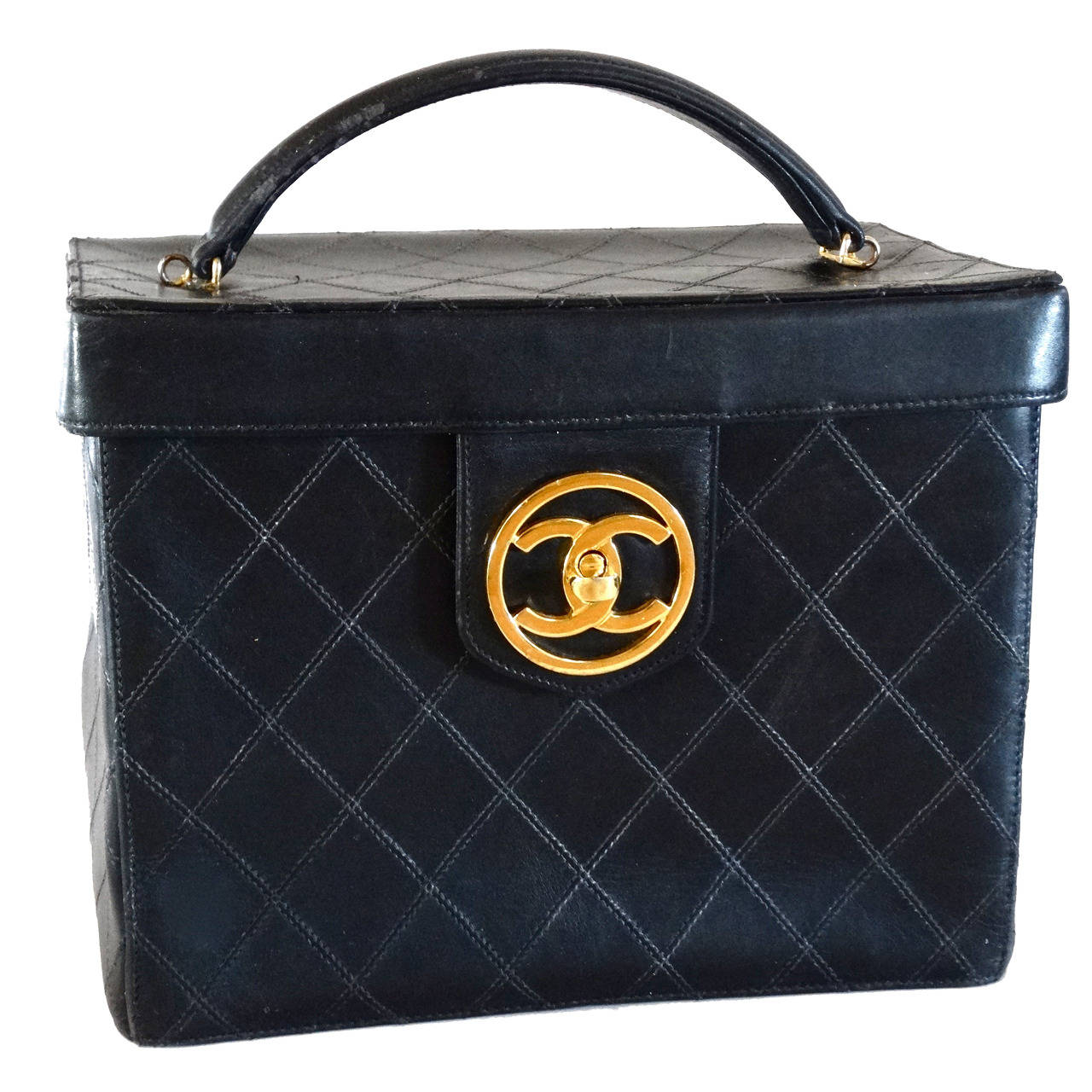 13757856c61291 1980s Chanel Black Quilted Lambskin Vanity Cosmetic Train Case For Sale