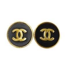 1980's Chanel Vintage Black & Goldtone Cuff Links