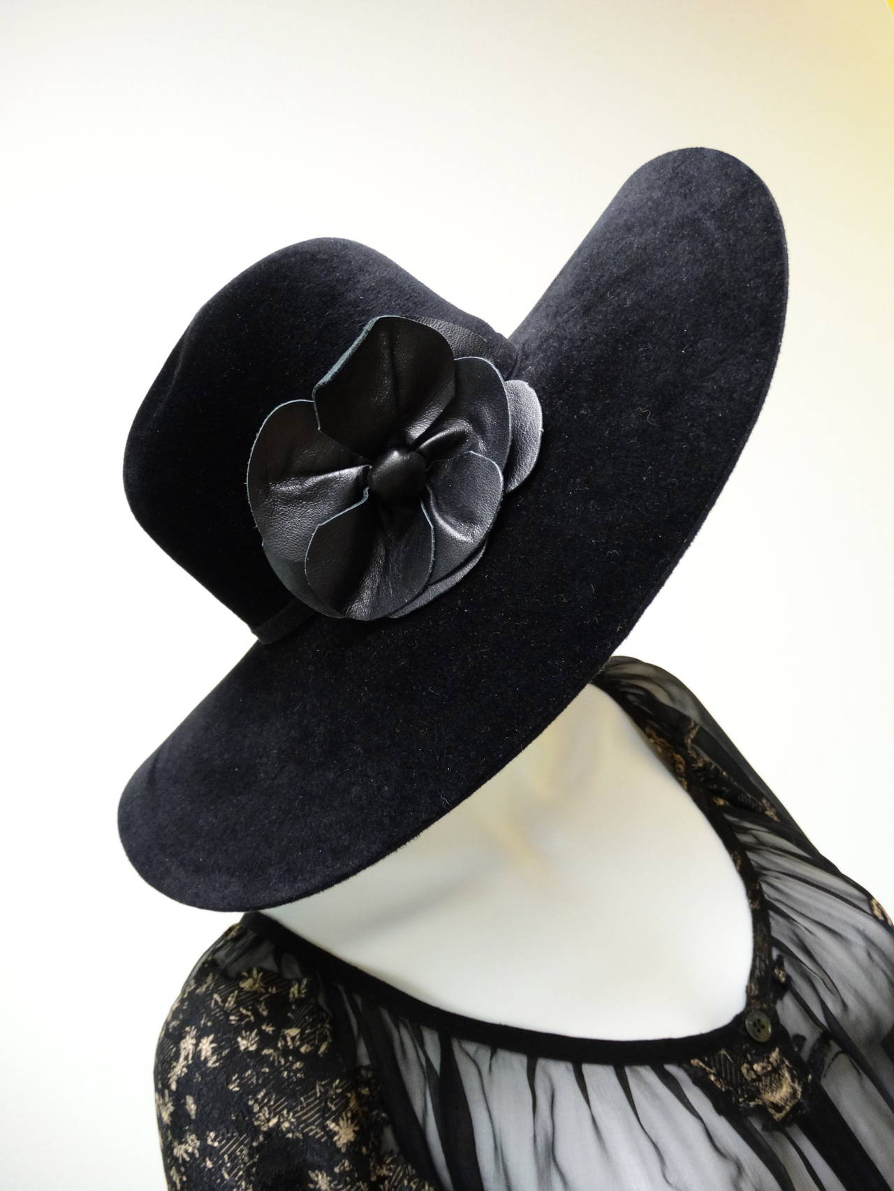 Helen Kaminski Wide Brim Felt Hat with Leather Flower 10