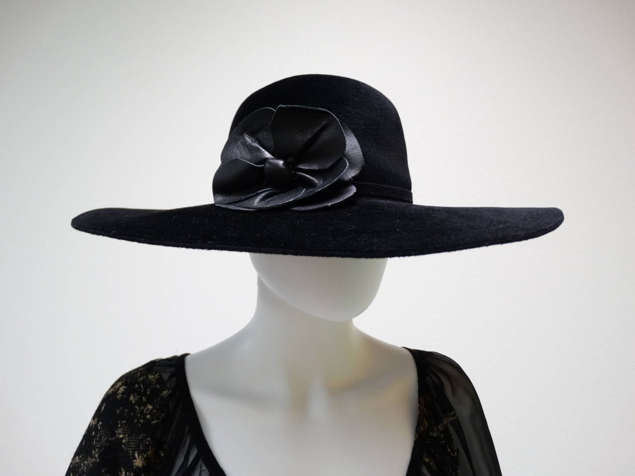 Helen Kaminski Wide Brim Felt Hat with Leather Flower 2