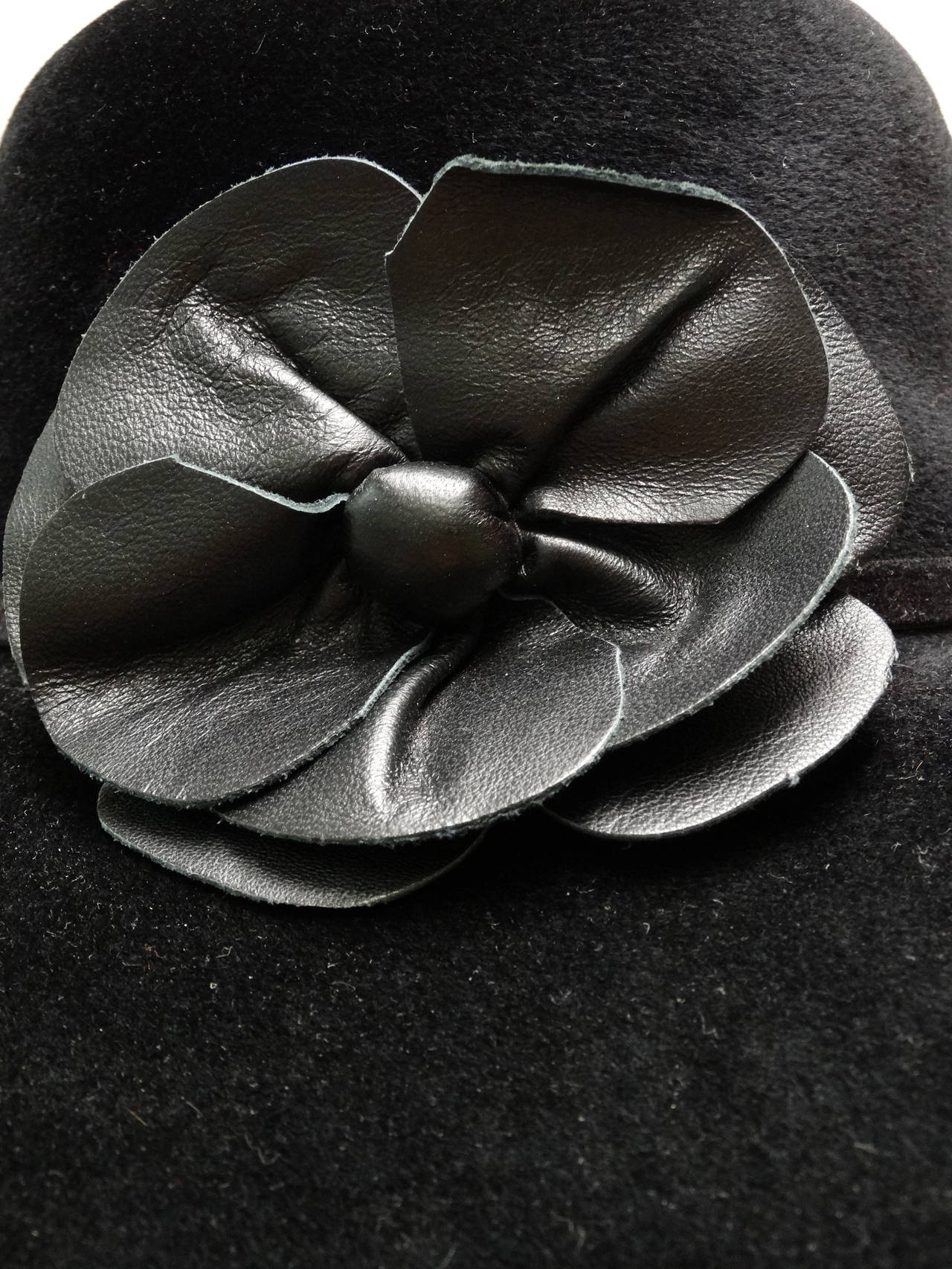 Helen Kaminski Wide Brim Felt Hat with Leather Flower 3