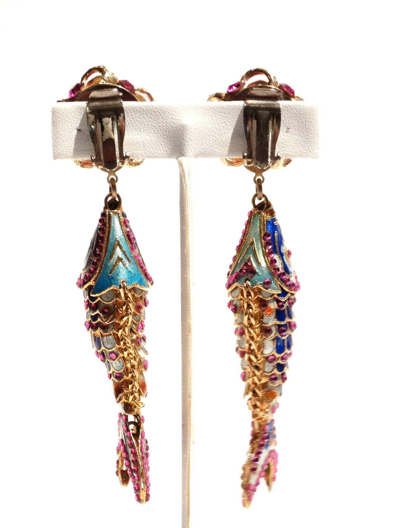 1970s Asian Karp Cloisonné Gold Filigree Rhinestone Earrings 6