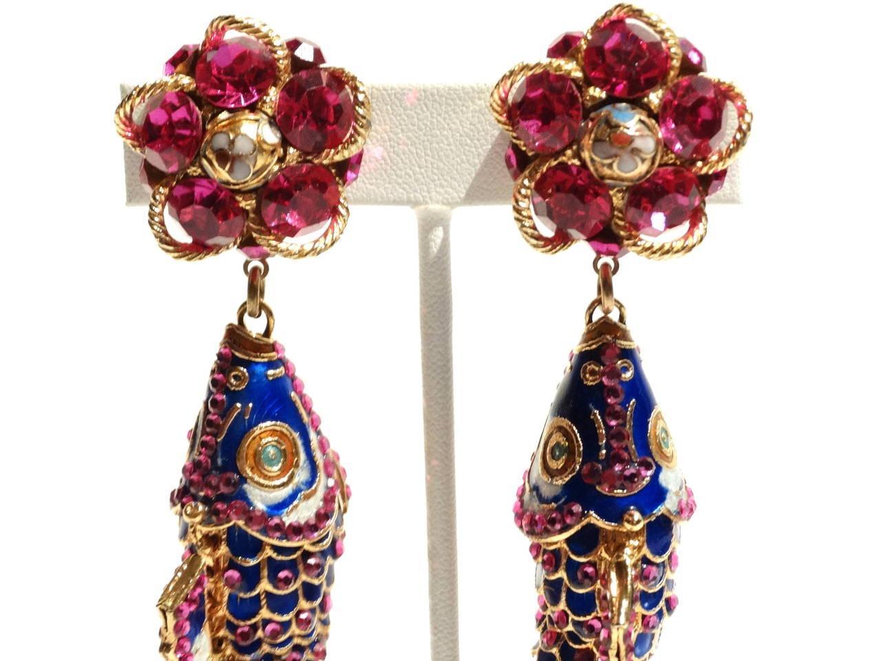1970s Asian Karp Cloisonné Gold Filigree Rhinestone Earrings 4