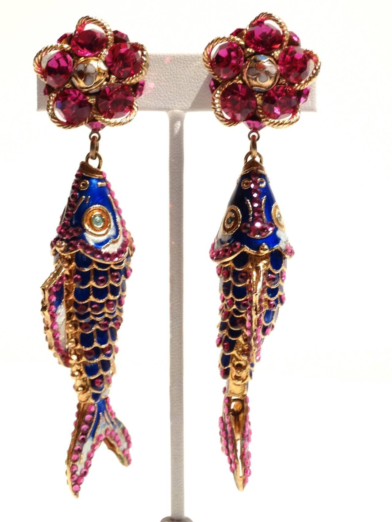 1970s Asian Karp Cloisonné Gold Filigree Rhinestone Earrings 2