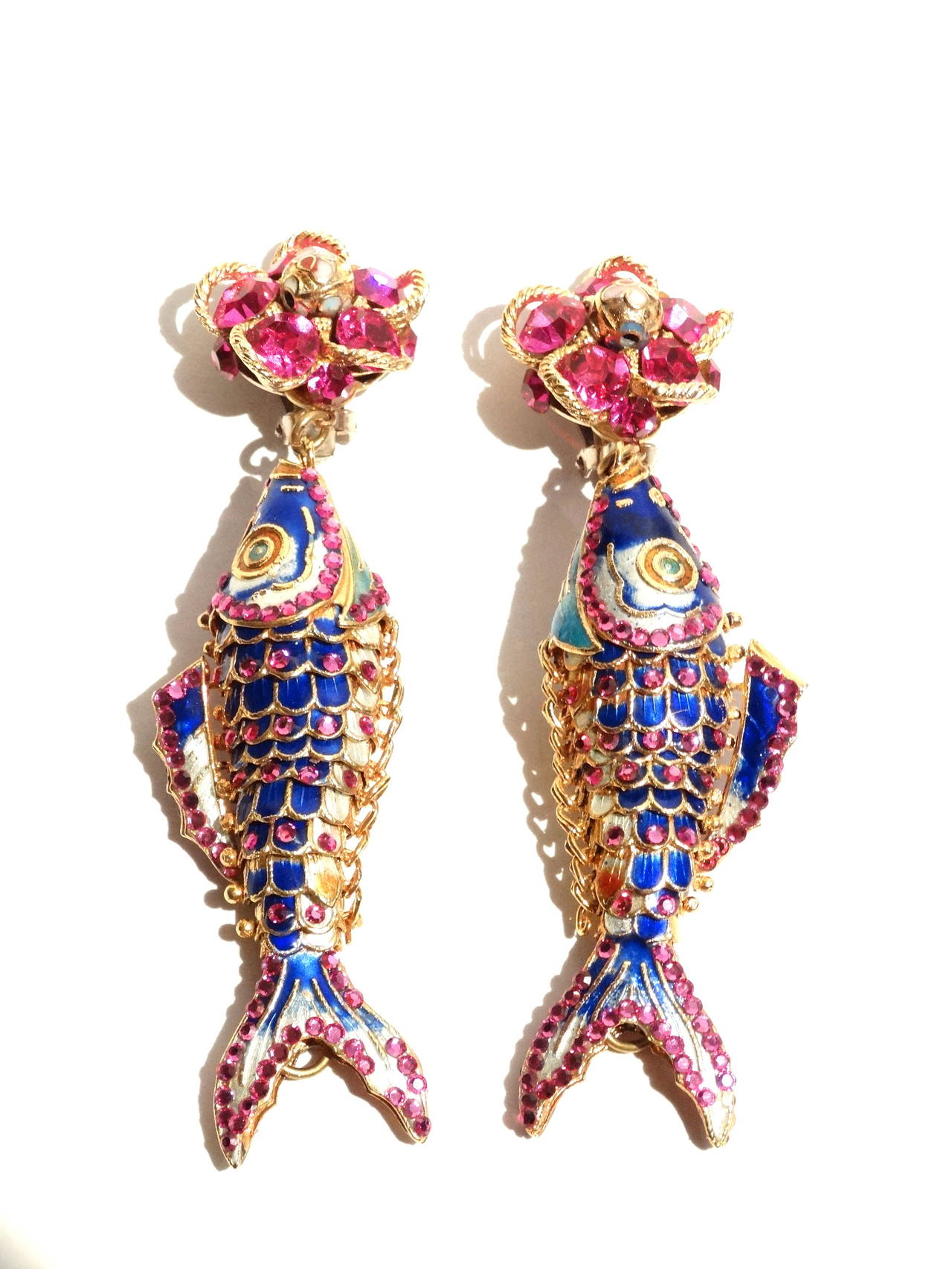 1970s Asian Karp Cloisonné Gold Filigree Rhinestone Earrings 3