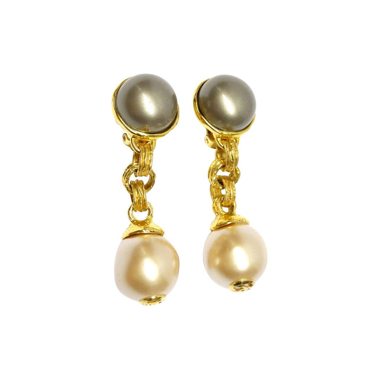 1980s Chanel Drop Pearl Earrings With Gold Cc S For