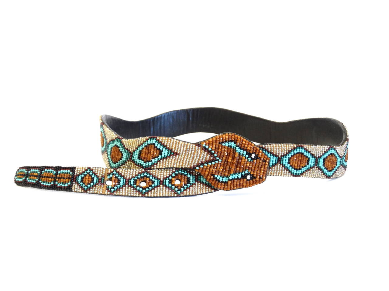 1990s Beaded Diamondback Rattlesnake Belt For Sale 1