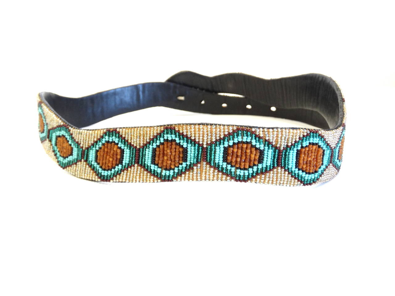 1990s Beaded Diamondback Rattlesnake Belt For Sale 2