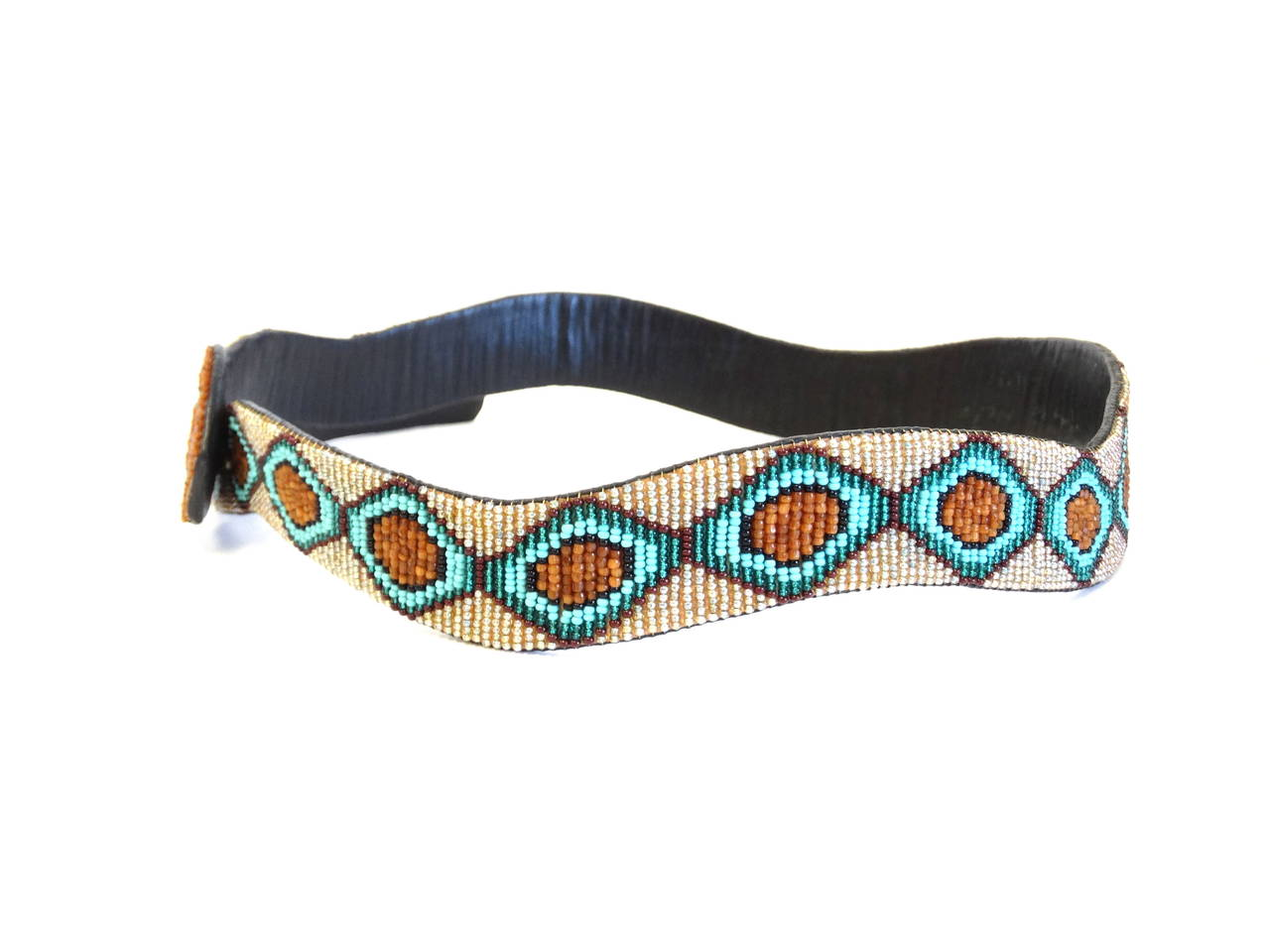 1990s Beaded Diamondback Rattlesnake Belt In Excellent Condition For Sale In Scottsdale, AZ