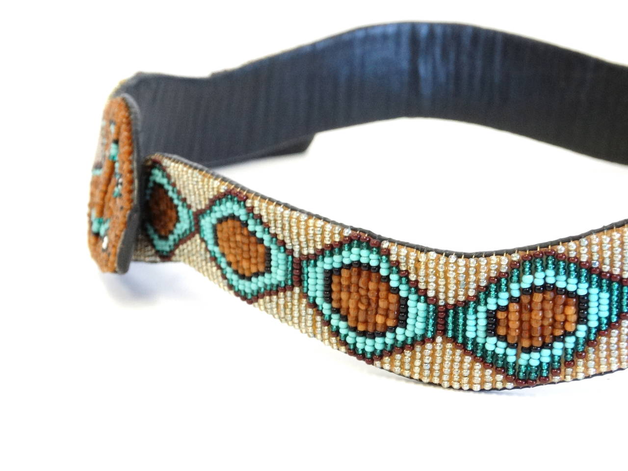 1990s Beaded Diamondback Rattlesnake Belt For Sale 3