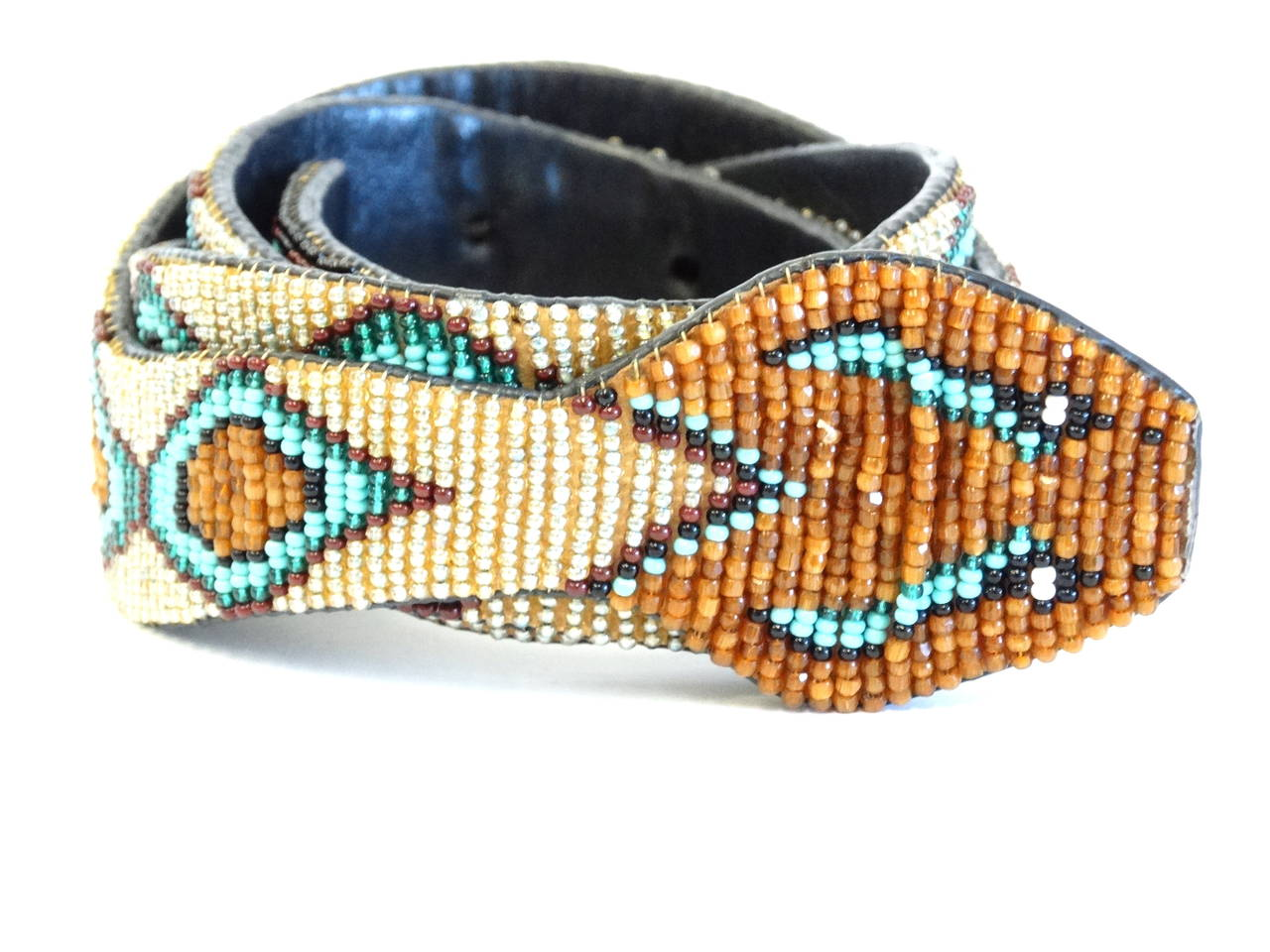 Black 1990s Beaded Diamondback Rattlesnake Belt For Sale