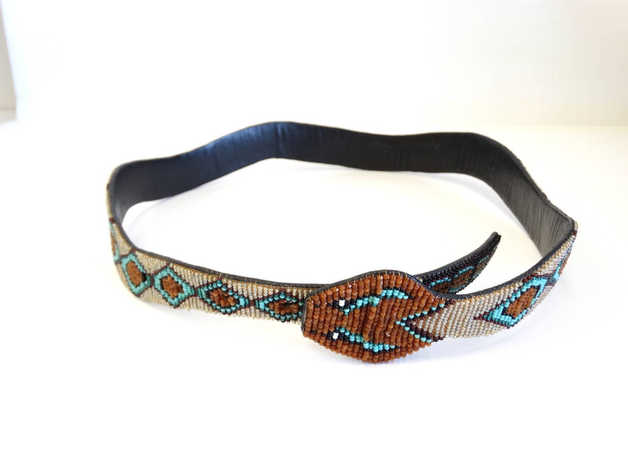 1990s Beaded Diamondback Rattlesnake Belt For Sale 5