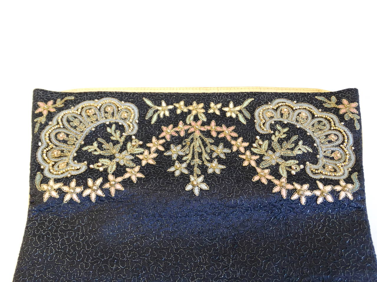 1950s Marheta Embroidered Fold Over Hand Clutch 2