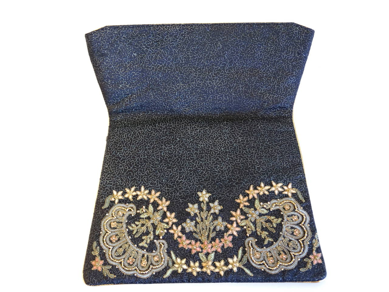 1950s Marheta Embroidered Fold Over Hand Clutch 3
