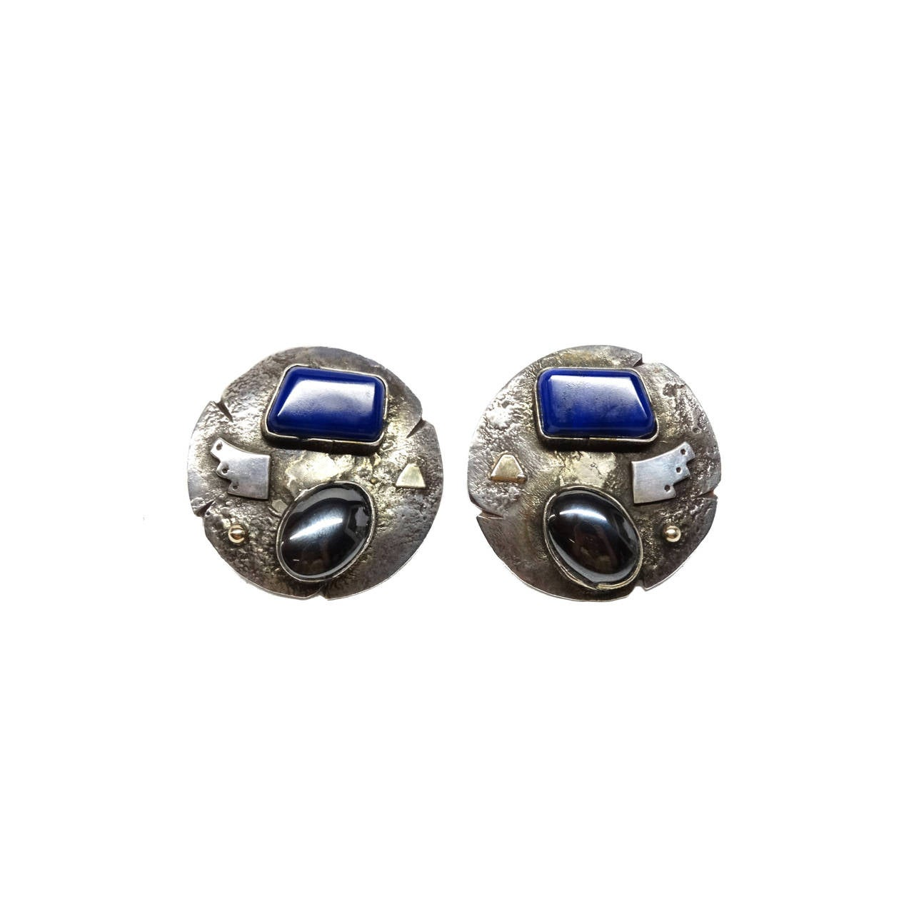 1980s Jolene A Eustace Cochiti Zuni 925/14K Gold Lapis Earrings For Sale