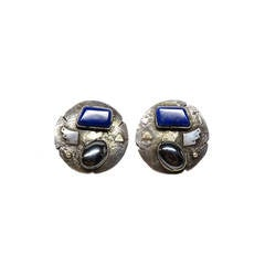 1980s Jolene A Eustace Cochiti Zuni 925/14K Gold Lapis Earrings