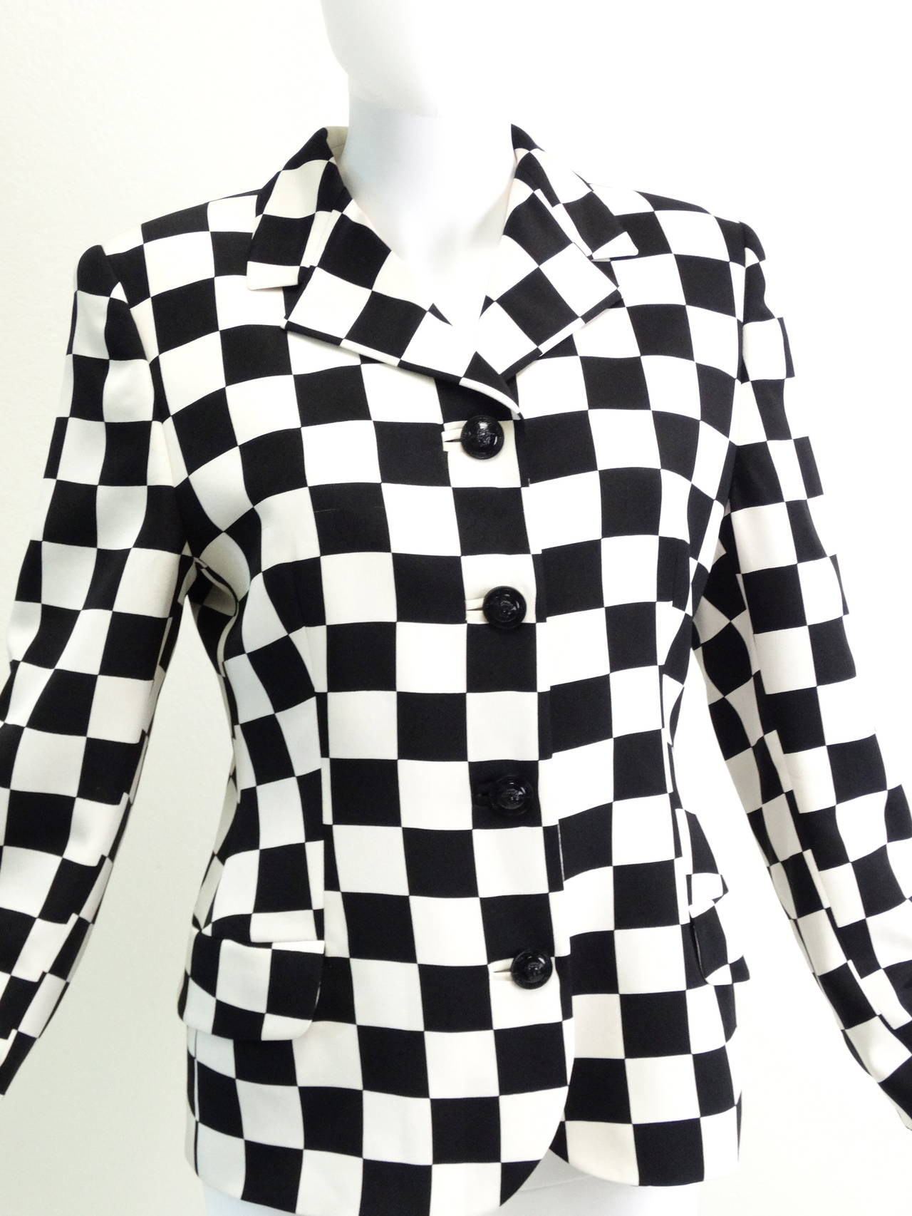 "1994 Gianni Versace Couture "" Silk Checkered"" Jacket 3"