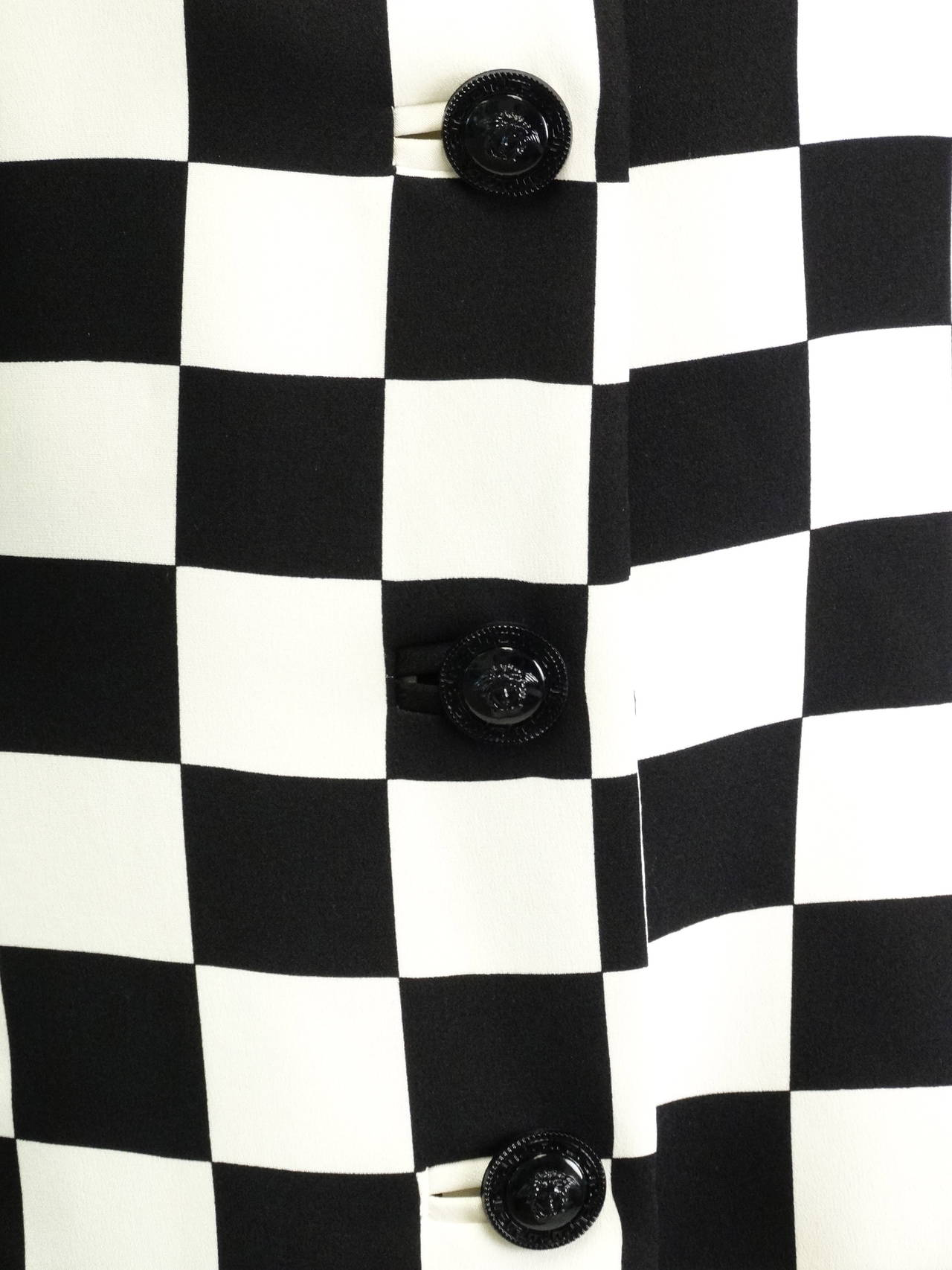 "1994 Gianni Versace Couture "" Silk Checkered"" Jacket 4"