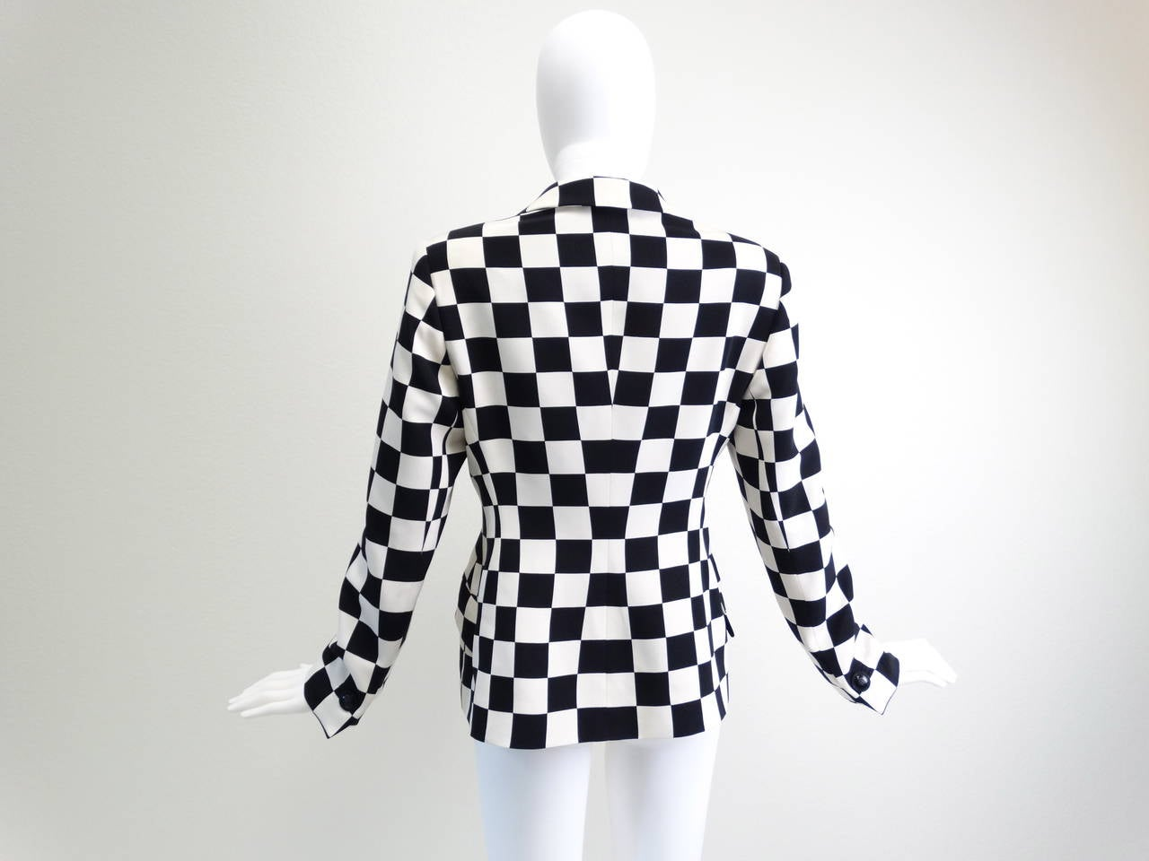 "1994 Gianni Versace Couture "" Silk Checkered"" Jacket 5"