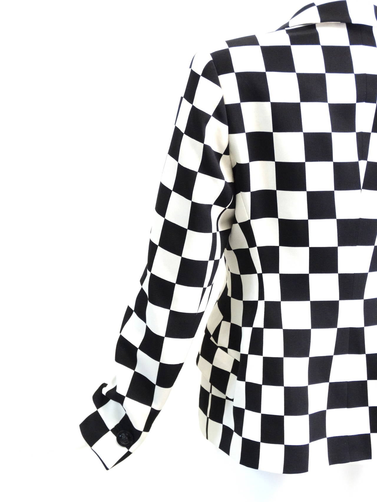 "1994 Gianni Versace Couture "" Silk Checkered"" Jacket 8"