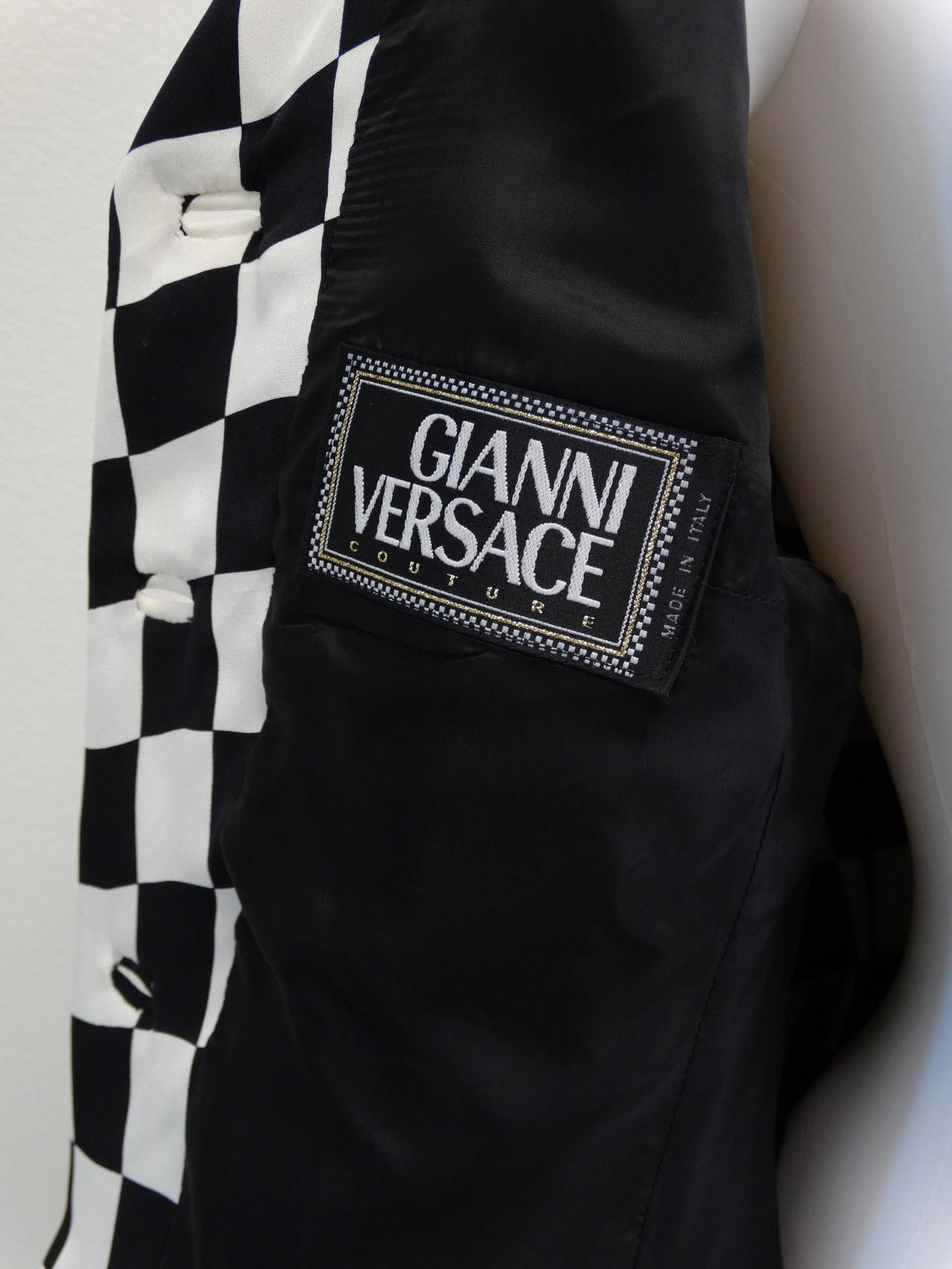 "1994 Gianni Versace Couture "" Silk Checkered"" Jacket 2"